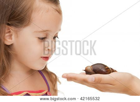 bright picture of beautiful litle girl with snail