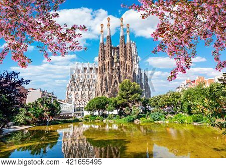 Sagrada Familia Cathedral In Spring, Barcelona, Spain - May 2019
