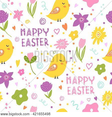 Easter Seamless Pattern With Lettering, Chickens, Greetings, Spring Flowers. Design Of Postcards, Cl