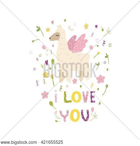 I Love You. Print For Girls With Lama. Print For T-shirt, Dress, Pillow, Mug With Llama, Spring Flow