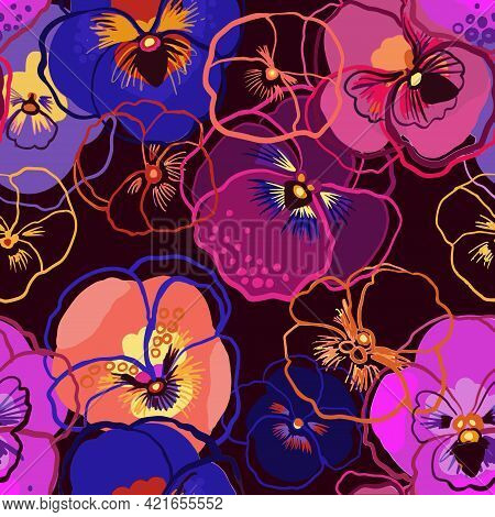 Vector Illustration Of Floral Seamless Pattern. Blue, Red, Yellow, Purple Flowers On A Dark Backgrou