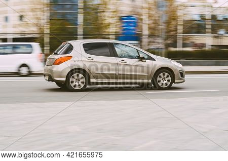 Peugeot 308 Five Door Hatchback Is Driving At High Speed. Moscow, Russia - May, 2021