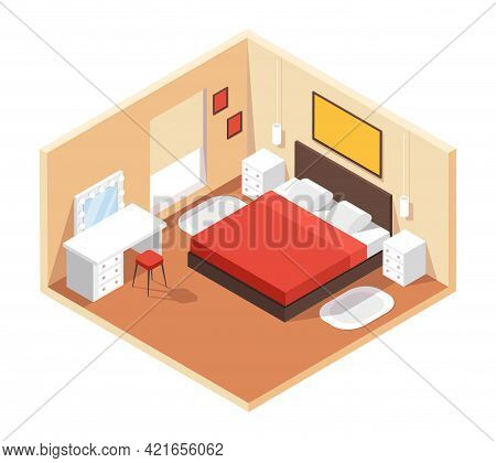 Isometric Bedroom. Modern Cozy Room Interior With Furniture Double Bed, Night Tables, Table, Mirror,