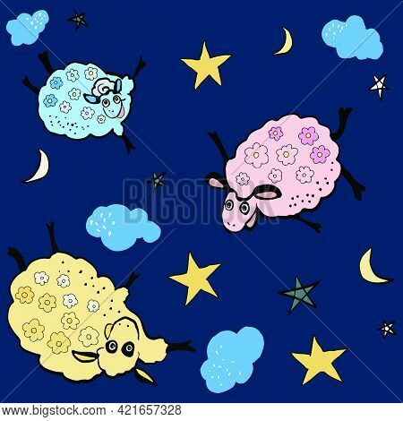 A Seamless Pattern Of Cartoons With Funny Sheep, Lambs. Vector Illustration. Beautiful Drawing For C