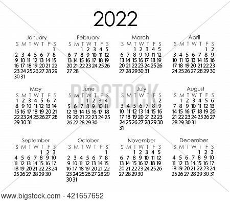 Calendar Template For The Year 2022 In Simple Minimalist Style, Week Starts On Sunday, Vector Printa