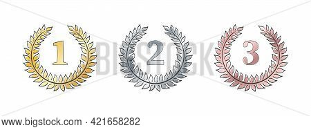 Laurels Branches. Set Of Ranking Icon With Wreaths. Vector Illustration Of Hand Drawn Wreaths