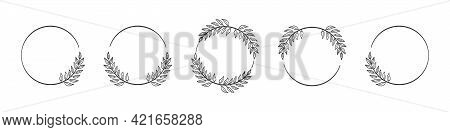 Set Of Black Circular Foliate Laurels Branches. Vector Illustration Of Hand Drawn Wreaths