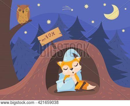 Cute Fox Character Sleeping In Burrow Cartoon Illustration. Sleepy Orange Animal Wearing Hat And Hol