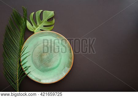 Empty Green Plate On Black Background. Luxury Dinner Plate Served With Asian Kinfolk Grunge Style Tr