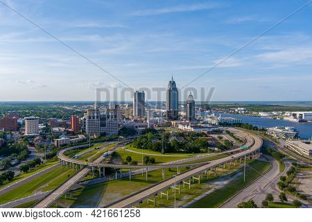 Aerial View Of The Downtown Mobile, Alabama City Skyline In May Of 2021