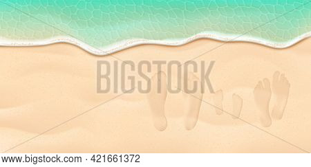 Mom, Dad And Kid Footprints On The Sand Beach Near The Sea Surf. Summer Vacation Family Concept. Vec