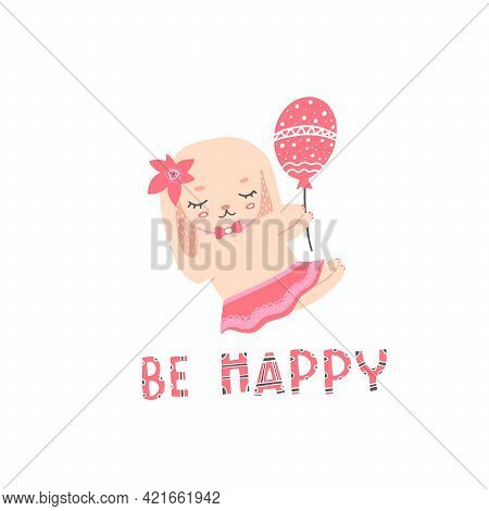Bunny In A Dress And With A Bow. Lettering With Rabbit For Printing On Clothes, Fabrics, Dishes, Tow