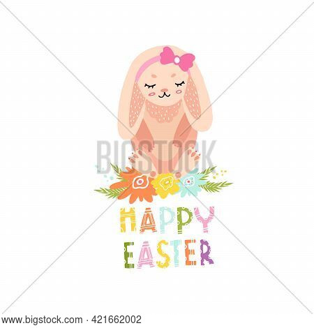 Cute Bunny Girl With Flowers For Easter Card Decoration. Bunny With A Bow For Printing On Clothes, F