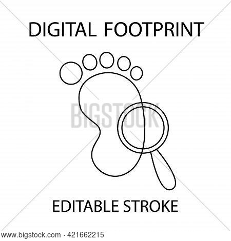 Digital Footpint. Outline Icon. Cyber Shadow. Foot With Magnifer. Vector Illustration For Banner, Po