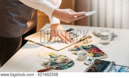 Art Process. Artistic Tools. Painting Blog. Creative Hobby. Unrecognizable Woman Making Photo Of Pai