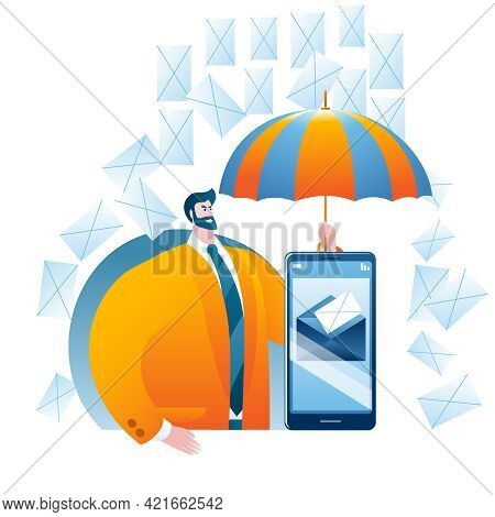 The Man With The Umbrella Protects The Mail Server On The Smartphone From Spam. Vector Illustration