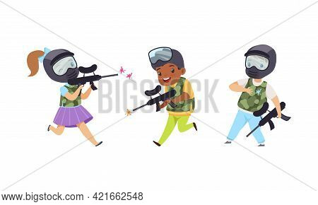 Cute Kids Playing Paintball Set, Boys And Girls Paintball Players Characters Cartoon Vector Illustra