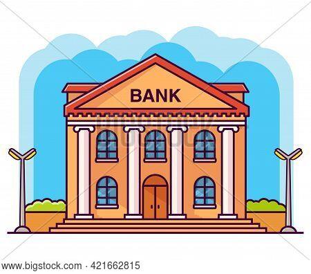 Bank Building Facade With Columns. Flat Cartoon Style Vector Illustration.