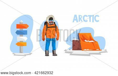 Arctic Explorer Set, Male Explorer In Winter Outfit, Research Station, Crossroad Direction Post, Pol