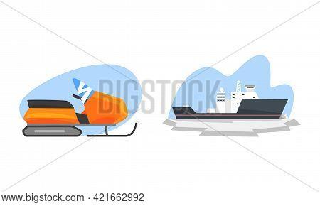 Arctic Explorer Set, Snowmobile And Ice Breaker, Polar Expedition Concept Cartoon Vector Illustratio