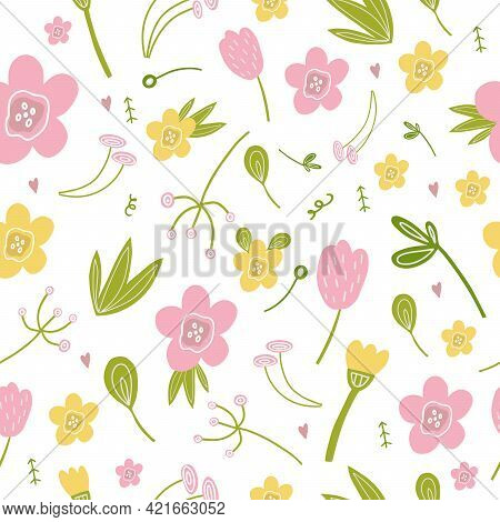 Seamless Pattern Of Pink Lilies, Yellow Flowers, Branches, Leaves. Vector Illustration For The Desig