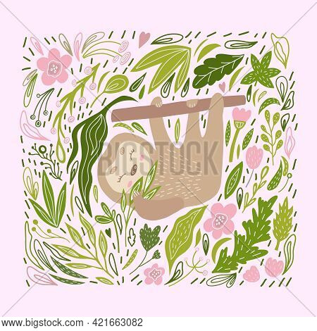 A Sloth On A Branch. Wildlife. A Doodle-style Sloth. Children's Illustration With A Cute Animal With