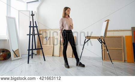 Artist Lifestyle. Professional Painting. Creative Imagination. Pensive Inspired Left-handed Female P