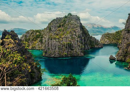 View Of The Cove At Kayangan Lake In Coron, Philippines Which Is Considered The Cleanest Lake In Asi