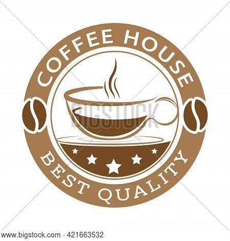 An Impression Of A Stamp With A Cup Of Coffee, Coffee Grain And Inscriptions. Template, For Logo, Br