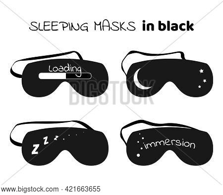 Sleeping Masks Set In Black Style With White Print. Eye Protection Accessories For Relax Sleeping Ni