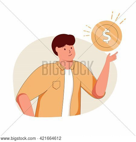 Businessman Holding A Dollar, Gold Coin. Profit, Money Management, Wages, Credit, Salary, Income, Ca