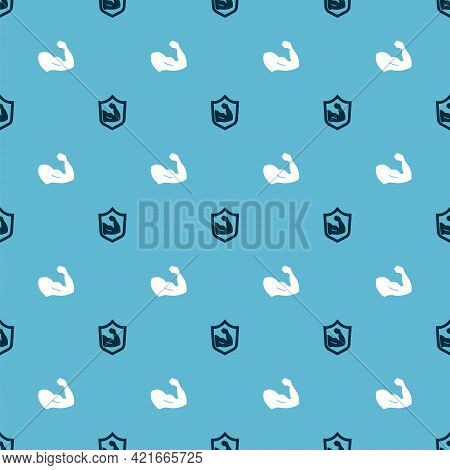 Set Bodybuilder Muscle And On Seamless Pattern. Vector