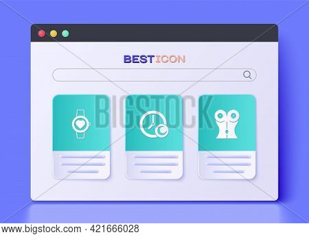 Set Time To Sleep, Smart Watch And Women Waist Icon. Vector