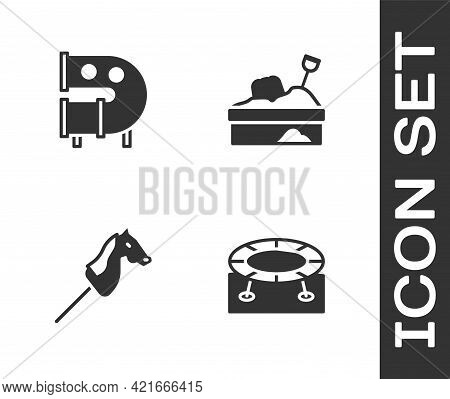Set Jumping Trampoline, Kid Playground Slide Pipe, Toy Horse And Sandbox With Sand Icon. Vector