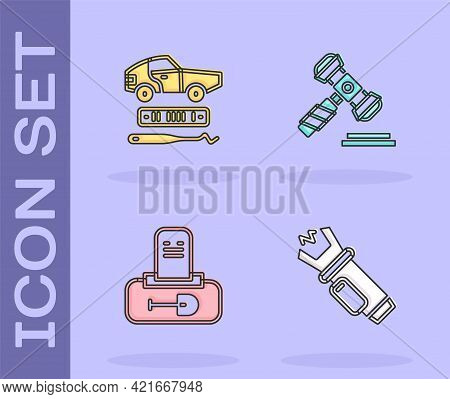 Set Police Electric Shocker, Car Theft, Grave With Tombstone And Judge Gavel Icon. Vector