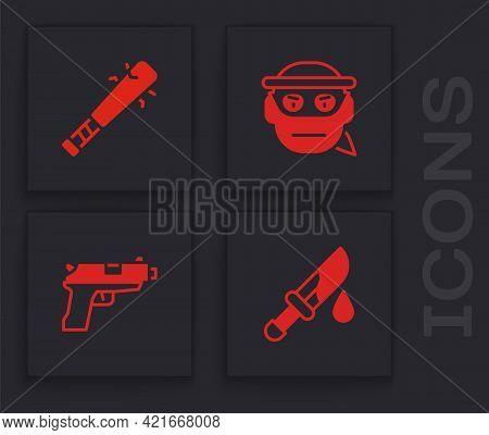 Set Bloody Knife, Baseball Bat With Nails, Bandit And Pistol Or Gun Icon. Vector