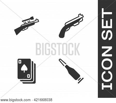 Set Bullet, Sniper Rifle With Scope, Playing Cards And Police Shotgun Icon. Vector