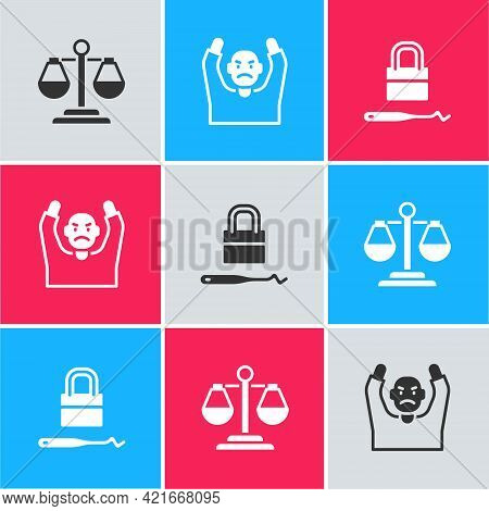 Set Scales Of Justice, Thief Surrendering Hands Up And Lock Picks For Lock Picking Icon. Vector