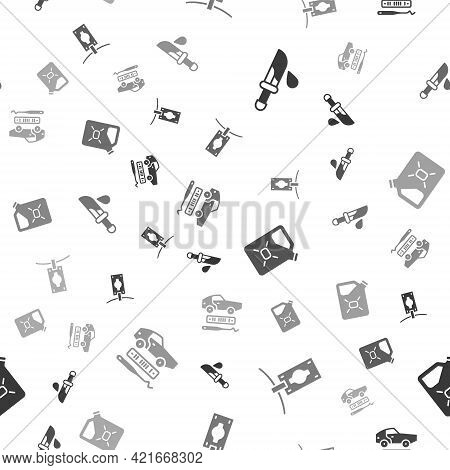 Set Bloody Knife, Money Laundering, Canister Fuel And Car Theft On Seamless Pattern. Vector