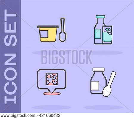 Set Drinking Yogurt In Bottle, Yogurt Container With Spoon, Cheese And Bottle Milk And Glass Icon. V