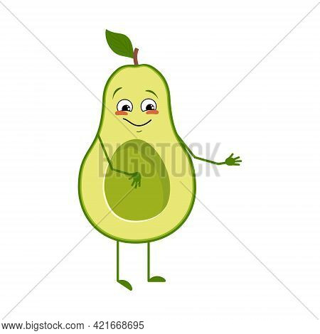 Cute Avocado Character With Joy Emotions, Smiling Face, Happy Eyes, Arms And Legs. A Mischievous Veg