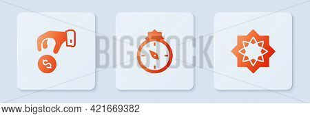 Set Qibla, Donate Or Pay Your Zakat And Octagonal Star. White Square Button. Vector