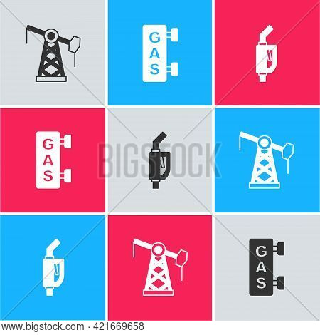 Set Oil Pump Or Pump Jack, Gas Filling Station And Gasoline Nozzle Icon. Vector