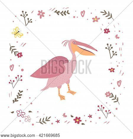 Pink Pelican Is Standing Isolated On A White Background. Frame From Plants And Flowers.