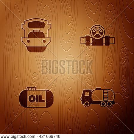 Set Tanker Truck, Oil Tanker Ship, Storage And Metallic Pipes And Valve On Wooden Background. Vector