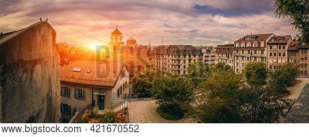 Beautiful Sunrise Over Geneva Old City,  Skyline View,  Switzerland