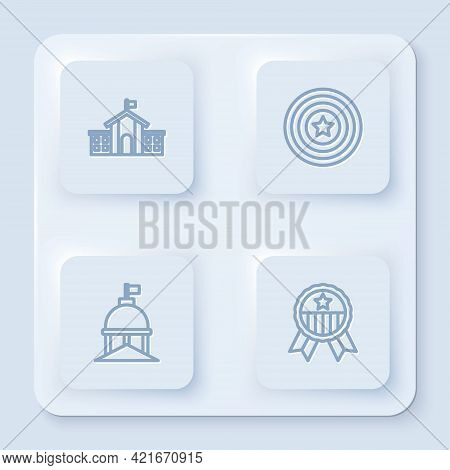 Set Line United States Capitol Congress, American Star Shield, White House And Medal With. White Squ