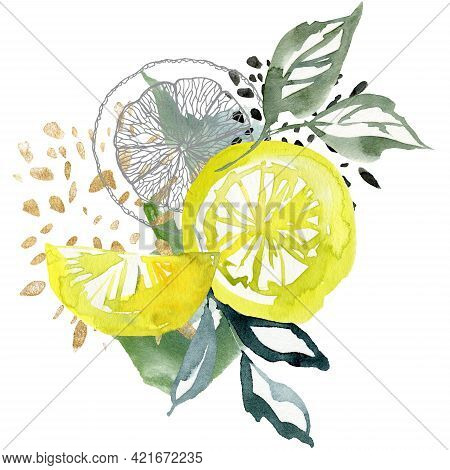 Watercolor Tropical Card Of Abstract Lemons And Linear Slice. Hand Painted Composition Of Fresh Frui