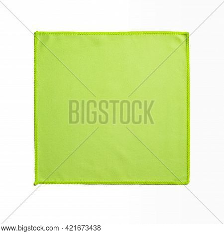 Square Green Microfiber Cloth Isolated On White Background. Soft Non-woven Microfiber Material For C