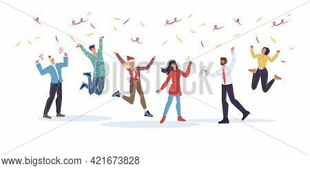 Vector Cartoon Flat Characters Friends In Happy Mood, Rejoice Together, Friendly Team Of Young Peopl
